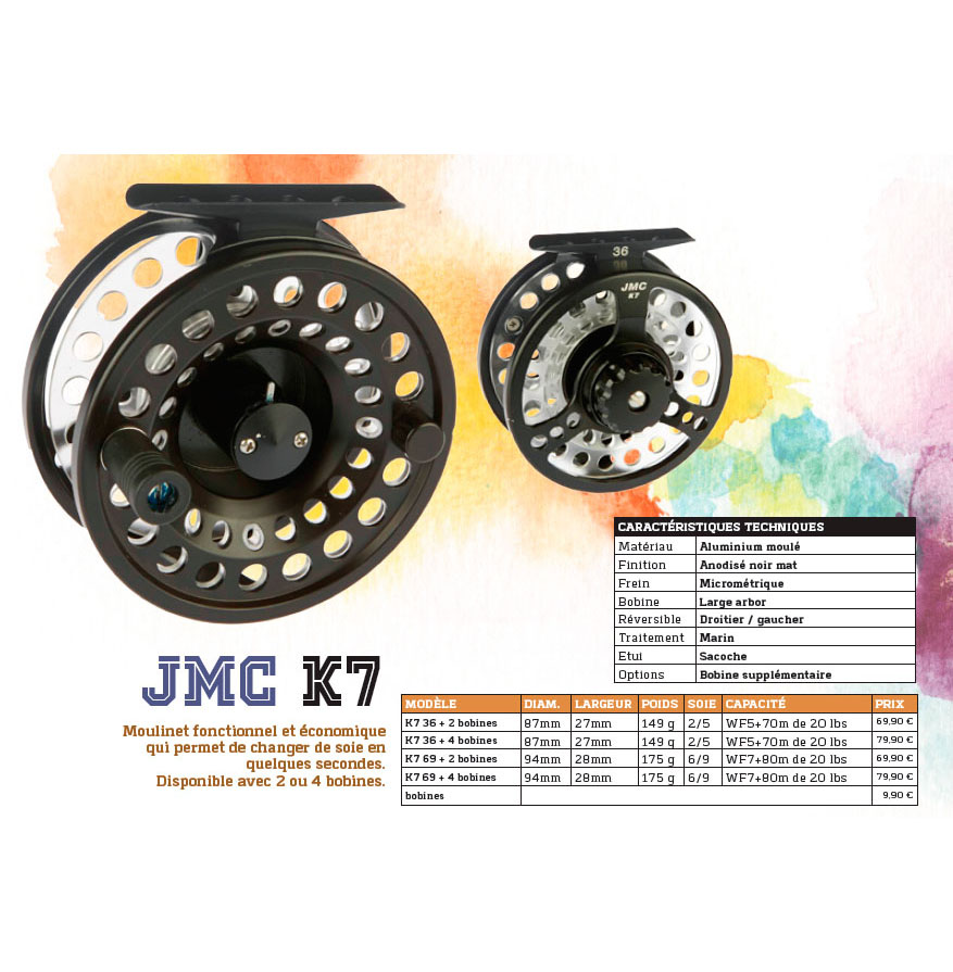 Carrete de mosca JMC K7 Cassete